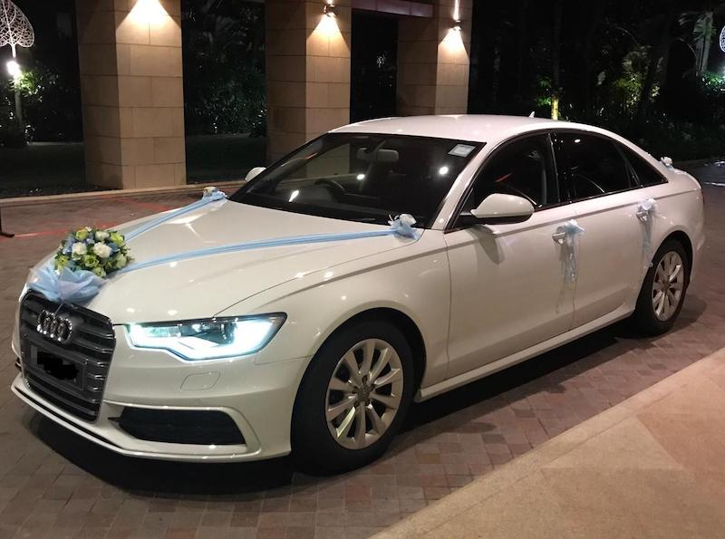 Audi a6 wedding car with decorations package