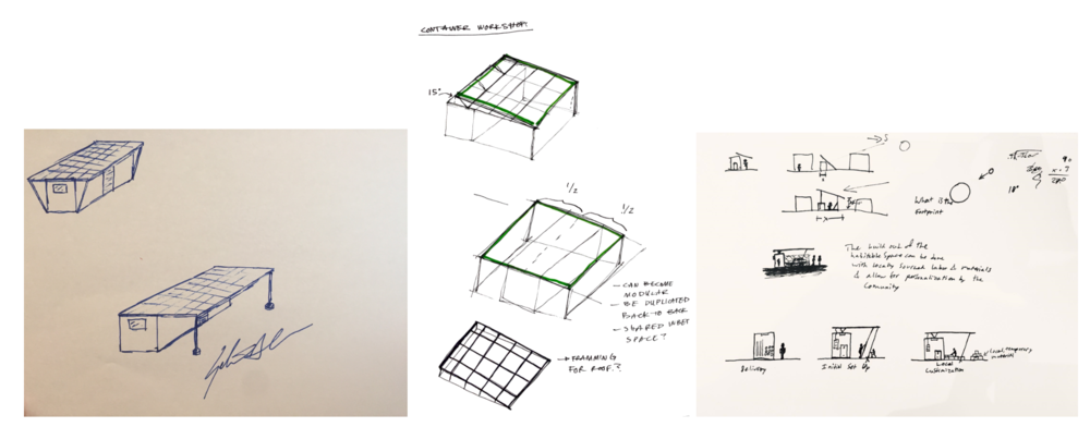 Design Iterations from Gabriel Chan (left), Krizia Medero Padilla (middle), and Garrett Burnham (right)