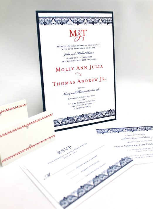 Classic Navy and White thermography printed stationery
