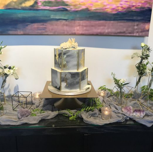 watercolor baby shower geode cake table setting