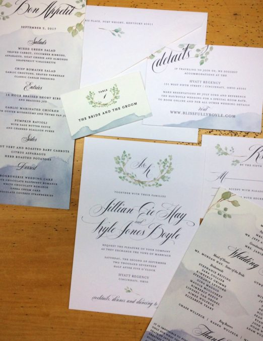 watercolor suite with monogram and wreath