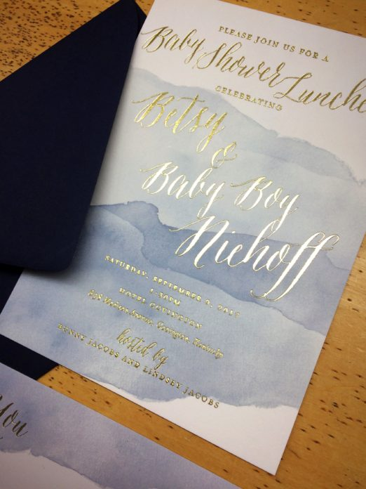 watercolor baby shower invitation by Poeme