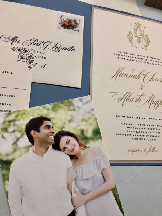 Dusty blue and gold wedding suite with vellum overlay and photo save the date