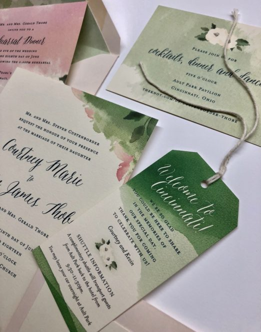 Watercolor and floral wedding stationery suite with enclosure tags