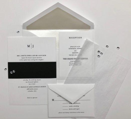 Minimal, elegant black and white wedding stationery with vellum overlay
