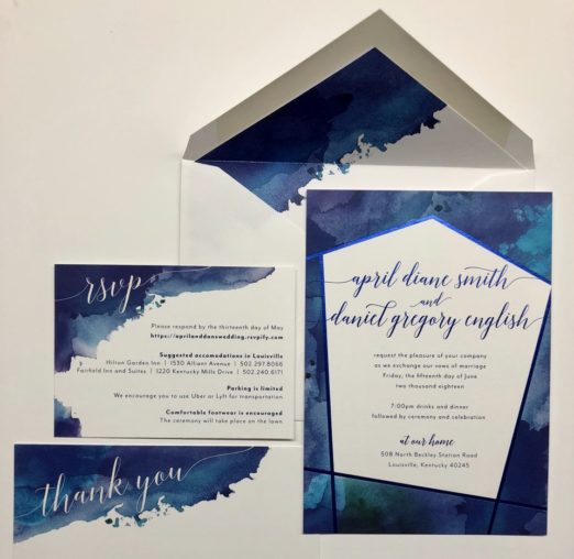 Geometric blue watercolor splash wedding stationery