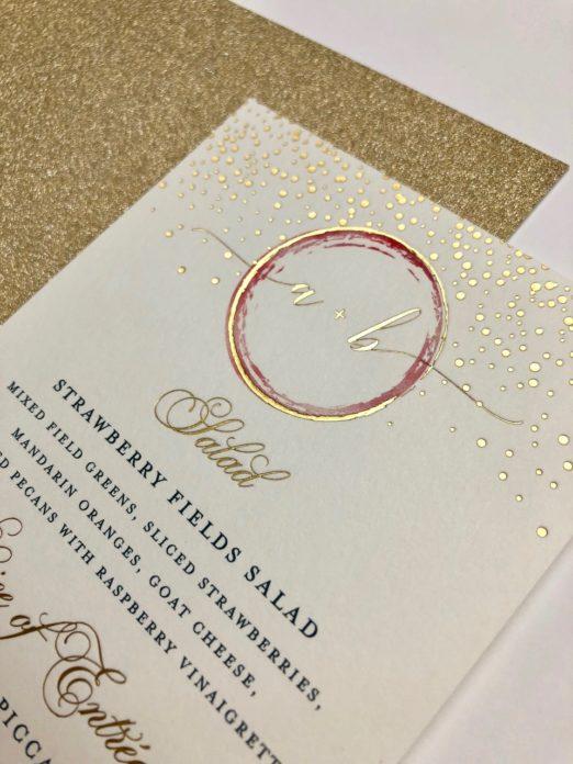 Gold & rust wedding invitation suite with custom monogram in gold foil