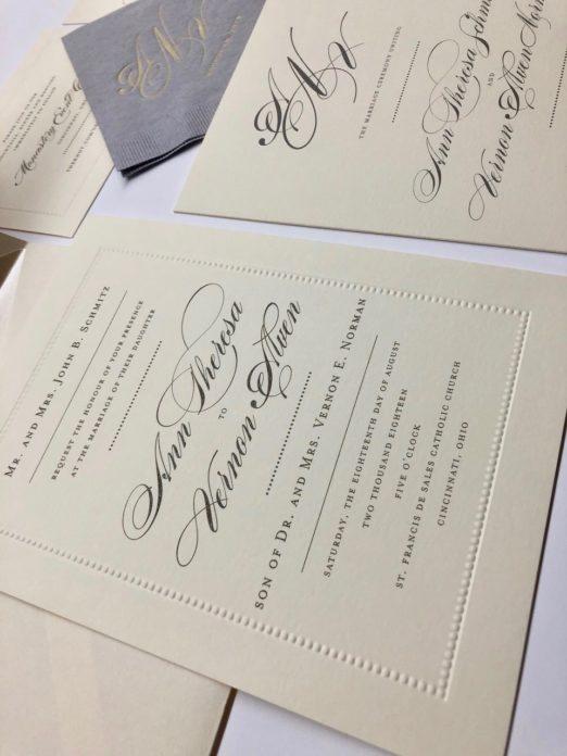 Elegant cream wedding invitation with beaded border