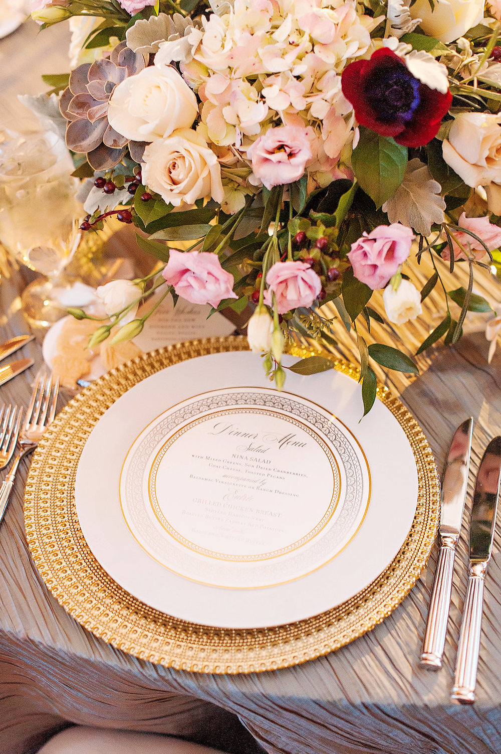Kortnee Kate Photography   Custom circle wedding dinner menu by Poeme
