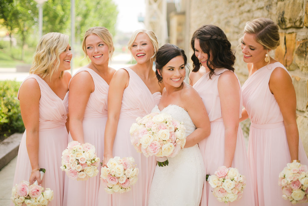 Summer Burnham Hall wedding in Cincinnati with blush and cream palette
