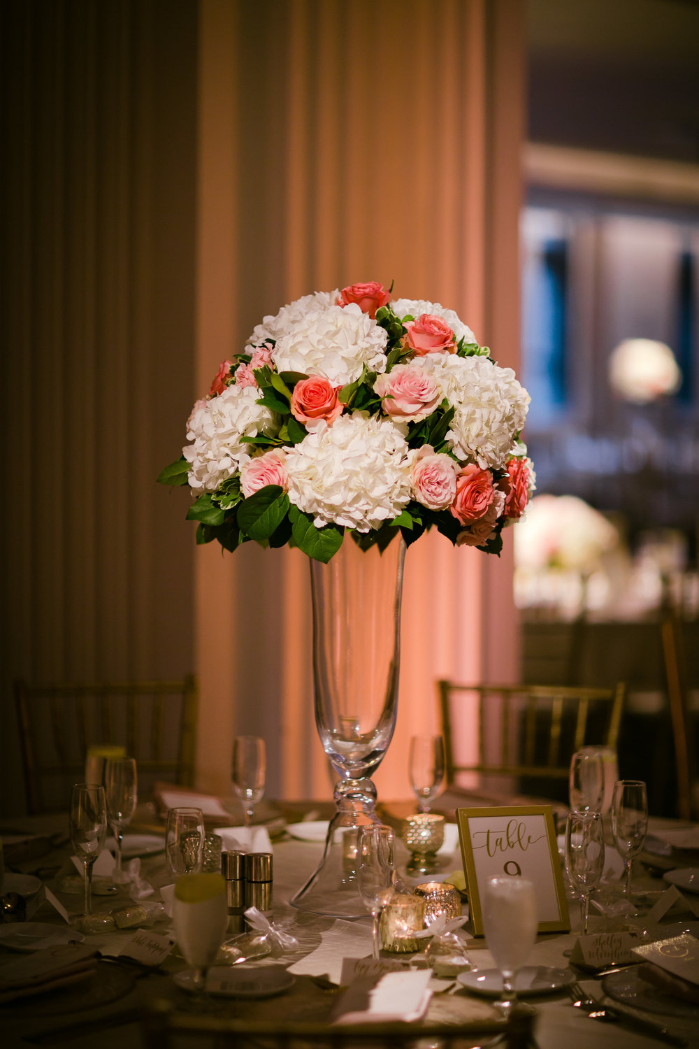 Burnham Hall wedding reception with blush and cream palette