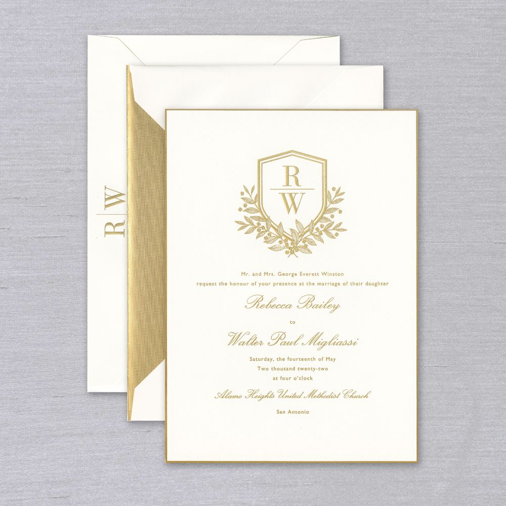 Vera Wang Chateau Wedding Invitation   For a truly regal treatment, the Vera Wang Chateau Wedding Invitation is sure to impress. Gold gilded border, engraved type shown in sun gold ink, and a crest-like duogram for your initials elevate this invitation to the highest order. Each invitation comes with a coordinating inner and outer envelope. Inner envelope is shown with an optional gold lining. Corresponding response set and reception cards are available while personalizing for an additional charge. The Vera Wang Chateau Suite also includes a coordinating side fold menu.