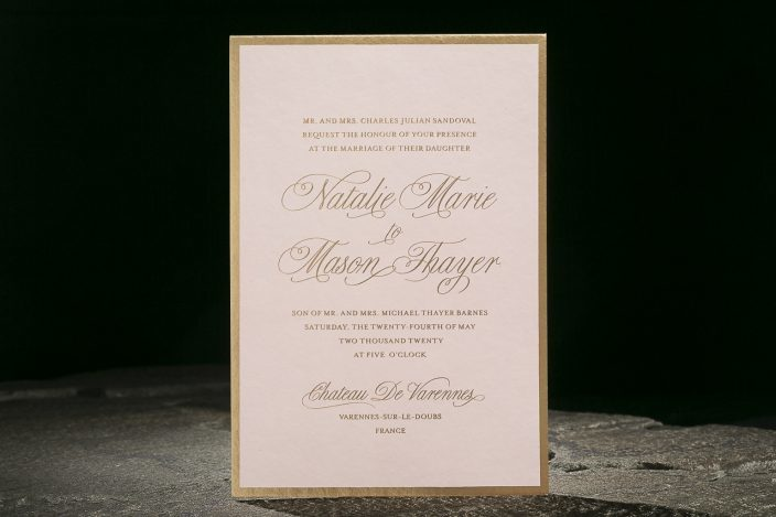 Avignon Suite   Gold foil over a digital flood of pink with a modern border paired with romantic script font. Foil stamped liner with narcissus pattern in gold matte.