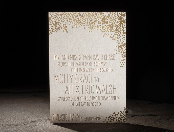 Tatra Suite   Dreamy golden glamour featuring two-tone gold foil stamping, gold foil edging, and patterned envelope liners.