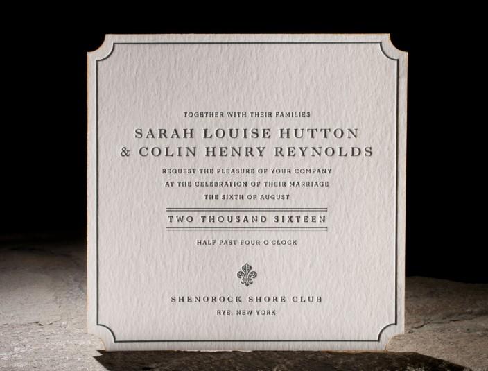 Halifax Suite   Belmont letterpress die-cut invitations feature vibrant edge painting, and vintage patterned envelope liners.