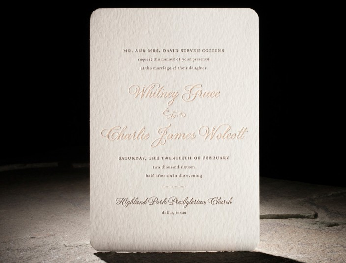 Spence Suite   Features letterpress printing and plaza — an exclusive smock calligraphy font. Beautiful rose gold foil edging along rounded corners.