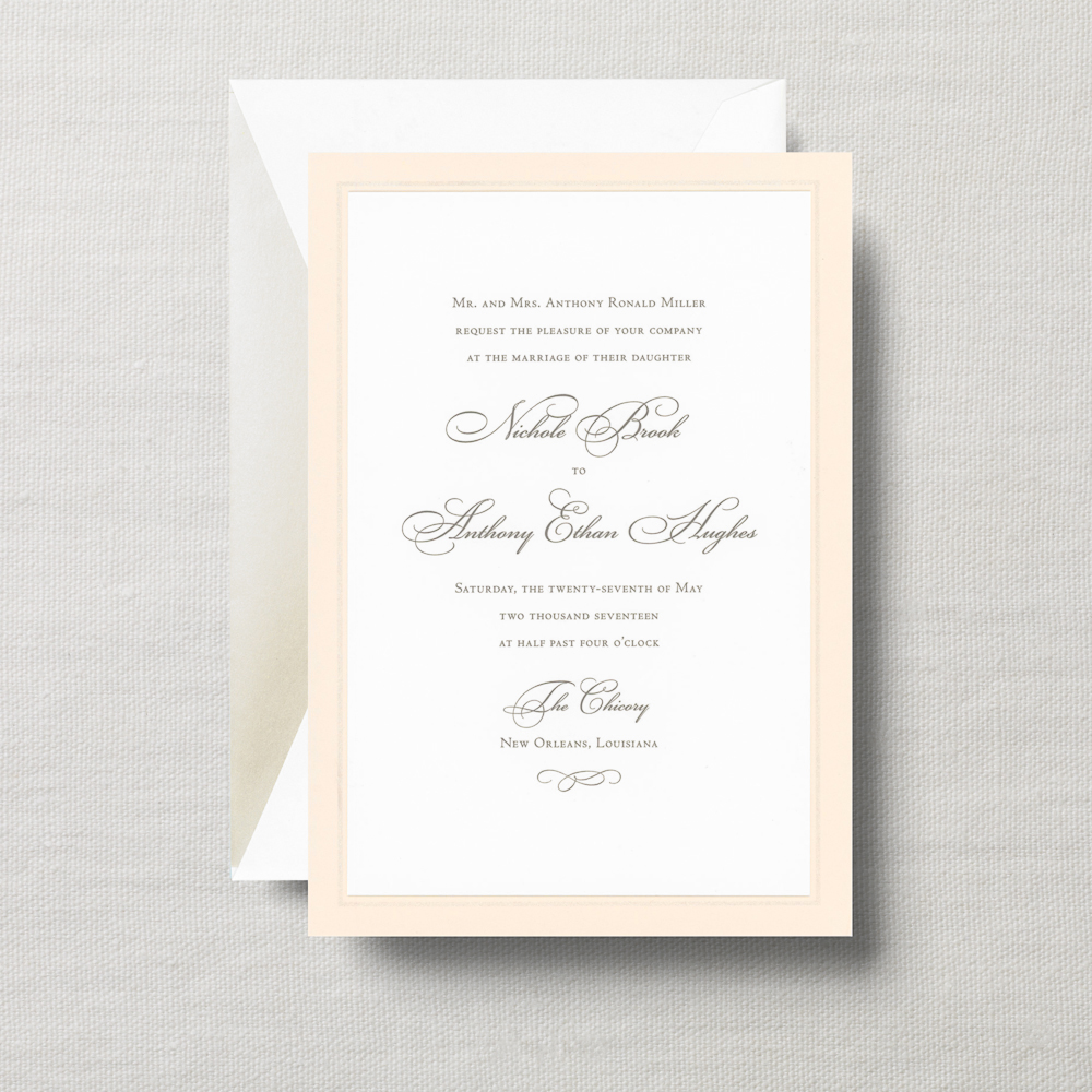 Engraved Royalty Bella Invitation with Pearl Frame   A mingling of gold and copper inks on pearl white paper will set the sophisticated tone for a wedding most exquisite.