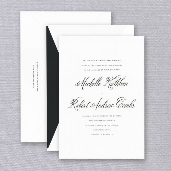 Royalty Savannah Pearl White Invitation   Equal parts classic and contemporary, a black and white color palette is the perfect choice for the invitation to a most sophisticated affair.