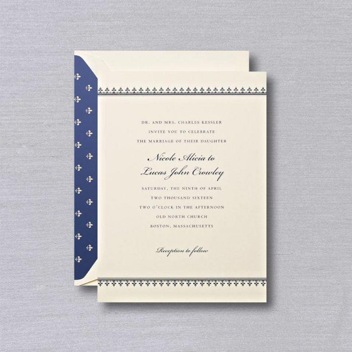Ecru White Embassy Wedding Invitation   Classic and elegant ecru white embassy wedding stationery features navy text and fleur de lis border. Coordinating envelope with gold fleur de lis on navy background.