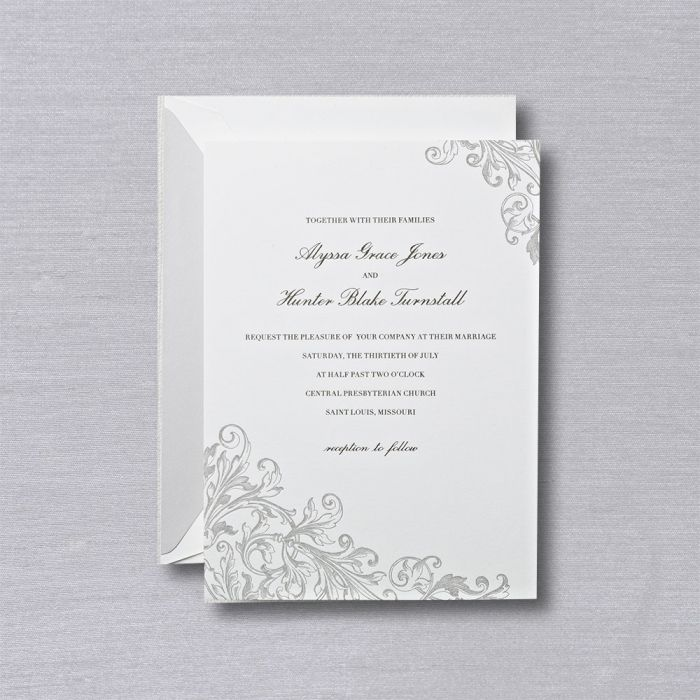 Letterpress Pearl White Embassy Wedding Invitation    Set an elegant tone with a pearl white invitation adorned with corners of botanical elegance, letterpress printed for tactile perfection.
