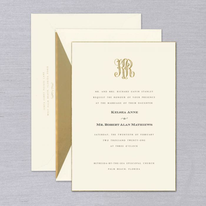 Rochester Wedding Invitation   A beautifully drawn monogram is the perfect way to introduce your wedding guests to the (future) Mr. & Mrs. Engraved in gold and accompanied by elegant type, shown in black, this luxurious premium weight invitation is hand beveled and edged in 24-karat gold; the perfect choice for the classic couple. Each invitation comes with a coordinating inner and outer envelope. Inner envelope shown with linen gold liner. Corresponding response set and reception cards available while personalizing for an additional charge.