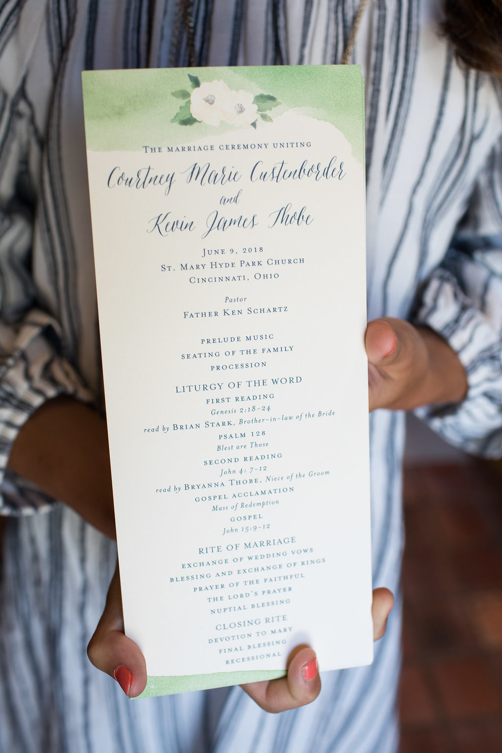 Wedding program for Ault Park Cincinnati Wedding day with rustic elements. Ben Elsass Photography
