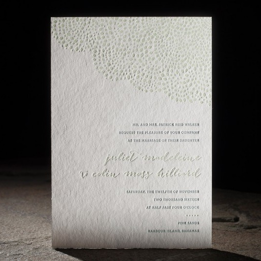 Rainier   Letterpress printing with colorful envelope liners. Mint shine foil stamped save the dates, digitally printed programs and favor tags available.