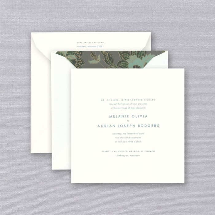 Marquis Drake Wedding Invitation   A pop of peacock ink and square shape give this classic pearl white wedding invitation a contemporary touch. Pair with Charcoal Floral envelope lining for a stylish statement.