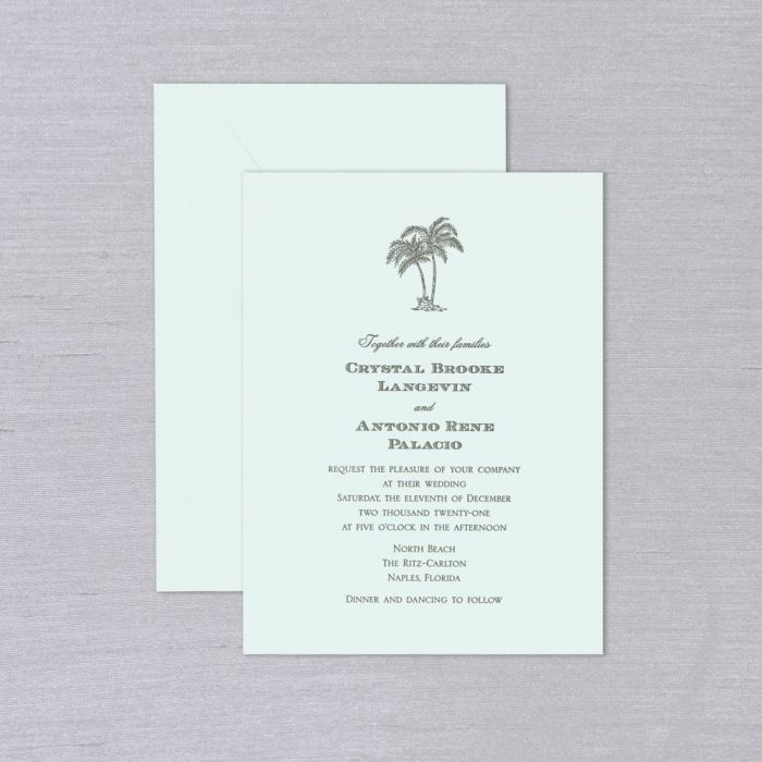 Laguna Wedding Invitation   The Laguna Wedding Invitation is the perfect addition to the maritime-minded bride and groom. Against the tranquil aqua background of our beach glass kid finish paper, this wedding invitation's picturesque letterpress type shown here with a palm tree motif will set the tone for beachy celebrations and destination weddings alike. Each Invitation comes with a coordinating envelope. Corresponding response set is available while personalizing for an additional charge.