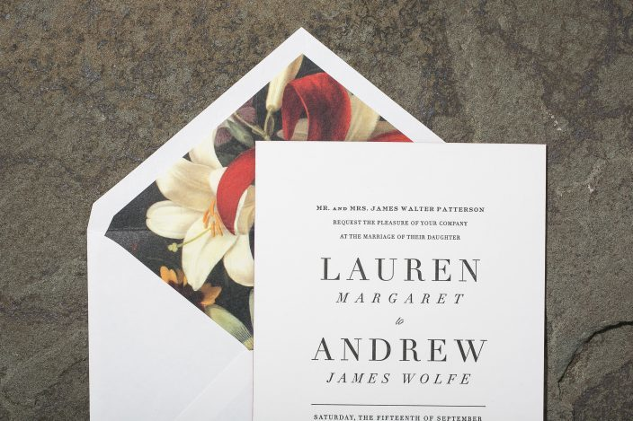 Exeter Wedding Invitation with Floral Liner
