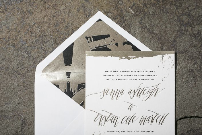 Lennon   The lennon suite features painterly swashes in tawny foil with black letterpress, and contemporary typography.