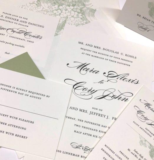Wedding Suite featuring Hydrangea Botanical Illustration