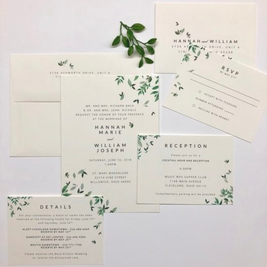 Green and White Wedding Stationery Suite with Leaf Motif