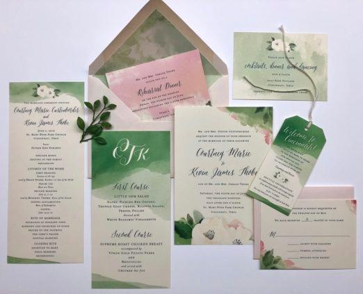 Watercolor wedding suite with monogram