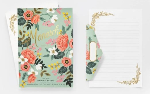 Letter writing stationery with gold foiling from Rifle Paper Company