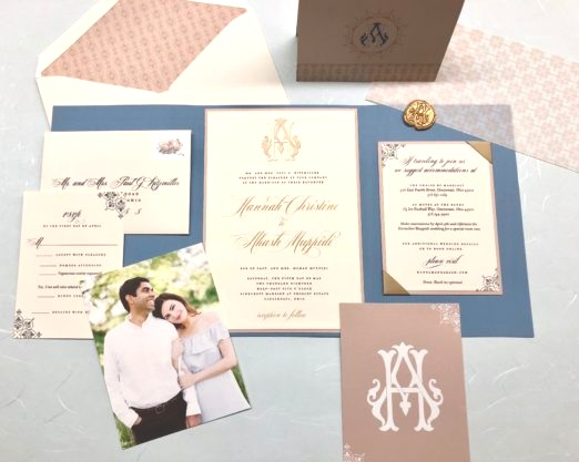 Dusty blue and gold wedding suite with vellum overlay and gold wax seal