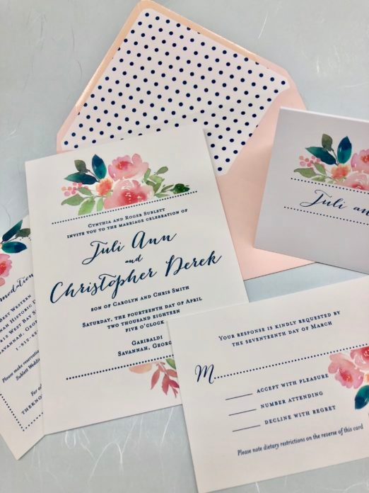 Coordinating floral and polka dot wedding stationery suite with envelope liner