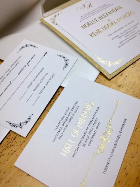 Gold+and+white+invitation+with+gold+glitter+stock+and+gold+lined+envelope