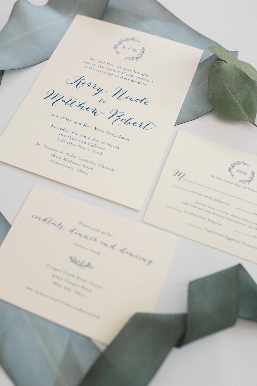 Blue and white wedding invitation suite. Amanda Donaho Photography