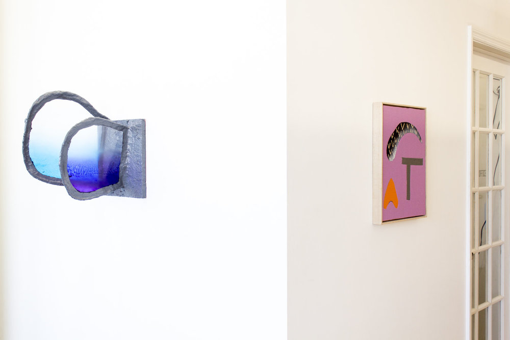 From left to right: Fabienne Lasserre,  Untitled Grey , 2017; Alex Ebstein,  Brow , 2016