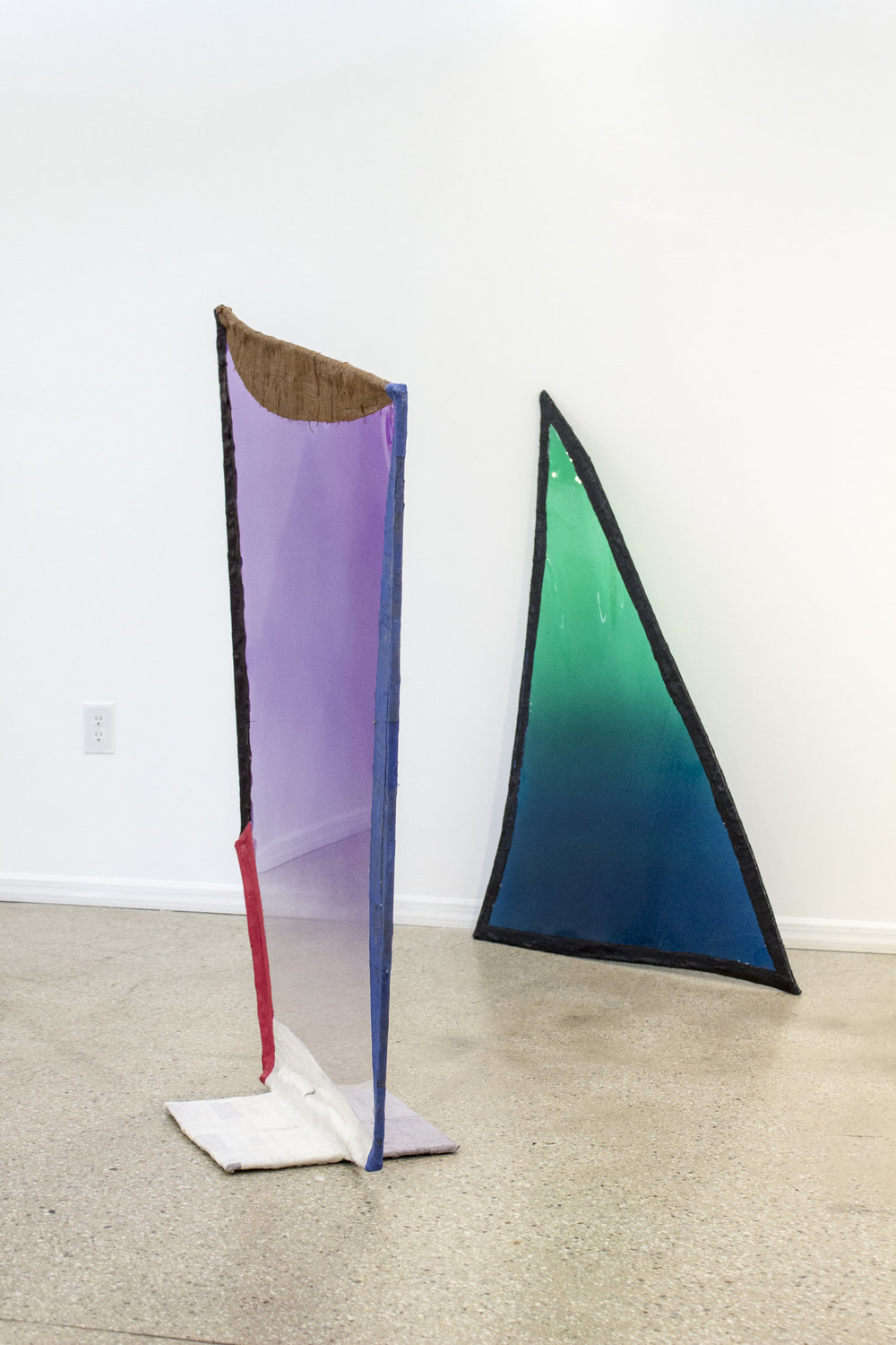 From left to right: Fabienne Lasserre,  Untitled Purple  and  Untitled Green , 2017