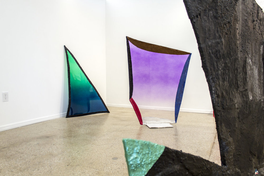 From left to right: Fabienne Lasserre,  Untitled Green  and  Untitled Purple , 2017 and  Untitled Black and White , 2016