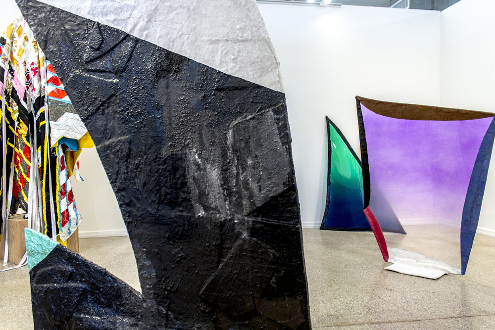 From left to right: Bonnie Collura,  On Target , 2017; Fabienne Lasserre,  Untitled Black and White , 2016,  Untitled Green  and  Untitled Purple , 2017