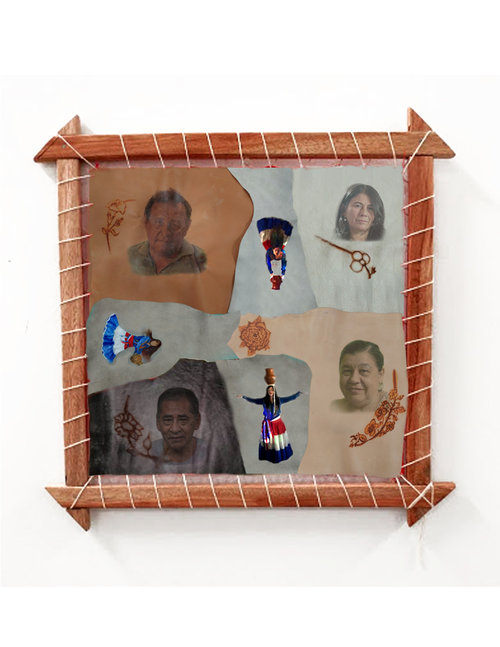 Ronit Levin Delgado  Project Forgiveness (Untitled), 2017 Mixed media on leather, 30 x 30 in.