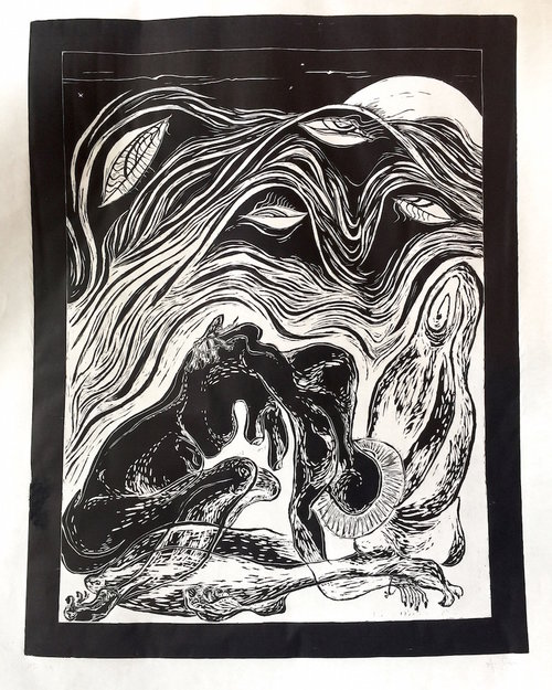 Aparna Sarkar  Solace , 2017 Woodblock print with black ink on paper, 50 x 38 in.
