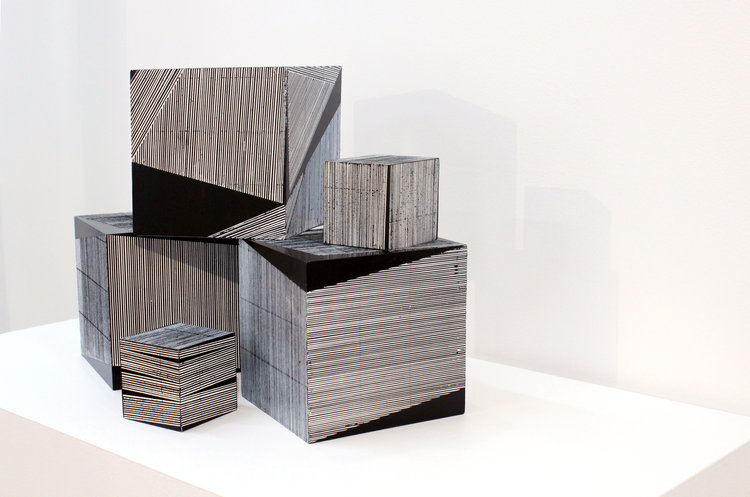 Emma Langridge, Medium Cubes 1, 2 and 3 and Small Cubes 1 and 2, 2016-17