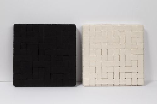 Daniel G. Hill, Black White Weave Diptych , 2016
