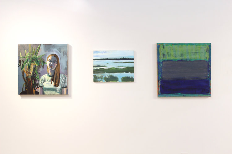 Left to right: Annie Trincot,  Alison , 2016; Mary Malcolm,  BlueGreen Marshland , 2013; Steven Nedboy,  Endangered Freedom , 2017