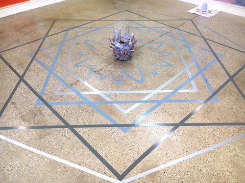 Katerina Lanfranco,  Blue, Grey, Silver Floor Mandala  and  Crystal Void  (center) 2017
