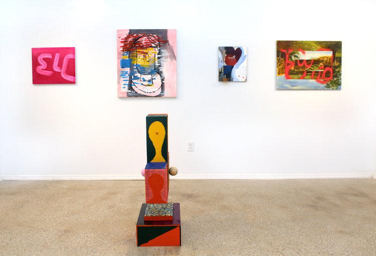 Clockwise: Wendy White,  ELC , 2015; EJ Hauser,  broken nose , 2012-13; James Hyde,  Seeking Sculpture , 2015; Ezra Johnson,  The End , 2012; Austin Eddy,  City Face (Vertical Stripes, Pink Ball) , 2016.